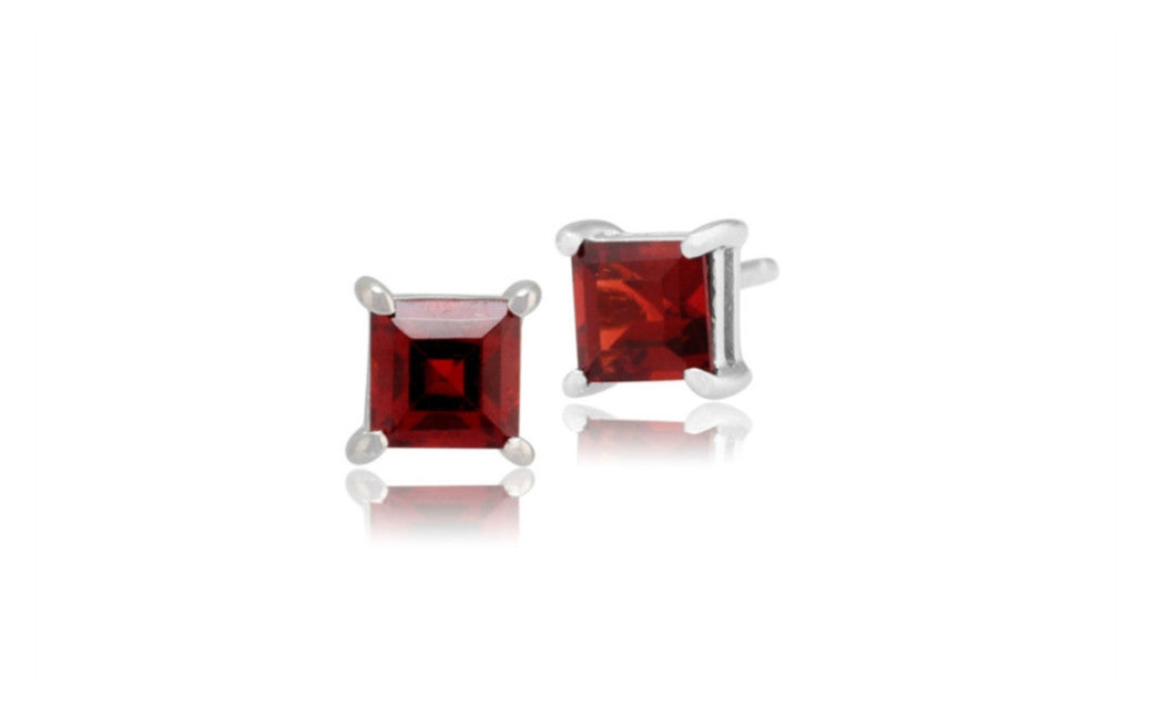 Sterling Silver 4 Carat Princess Garnet Cubic Zirconia Stud Earrings