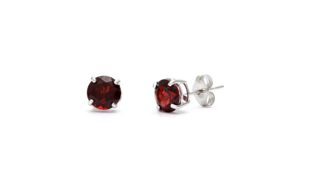 Platinum Over Sterling Silver 1ct Round Red Swarovski Elements Earring