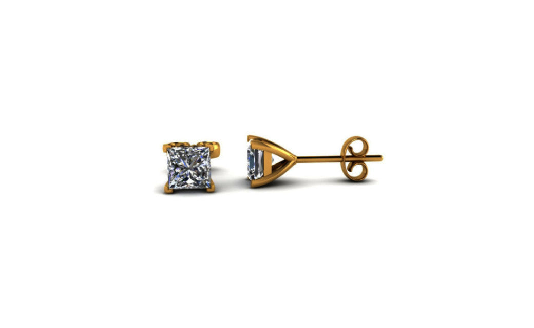 14K Yellow Gold Over Silver Princess White Imitation Diamond Earrings