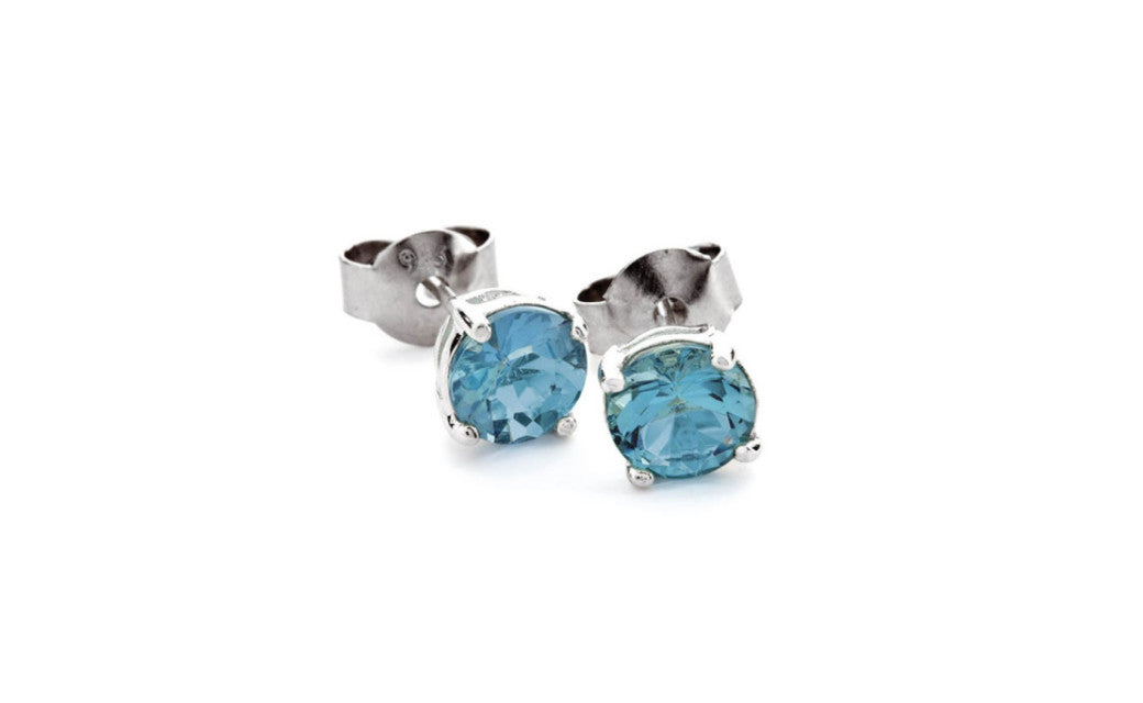 18k White Gold Over Sterling Silver 4 Ct Round Zircon Cz Stud Earrings