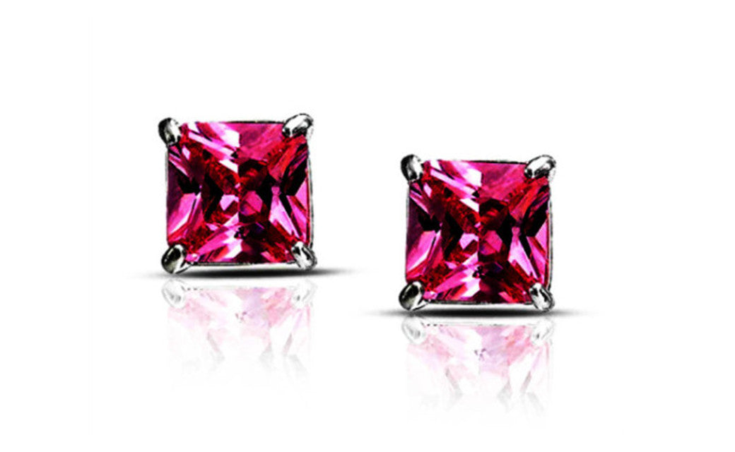 Sterling Silver Princess Cut Pink Imitation Diamond VS1 Stud Earrings