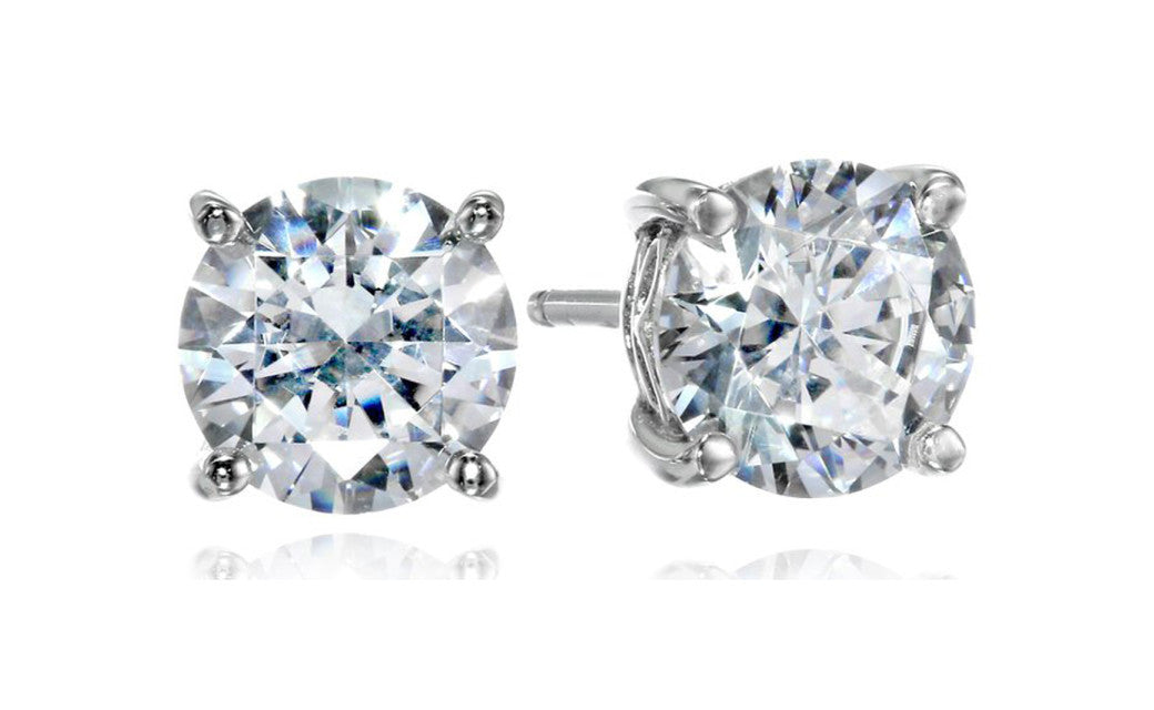 Plated Sterling Silver Swarovski Cz 3Ct Round White Stud Earrings