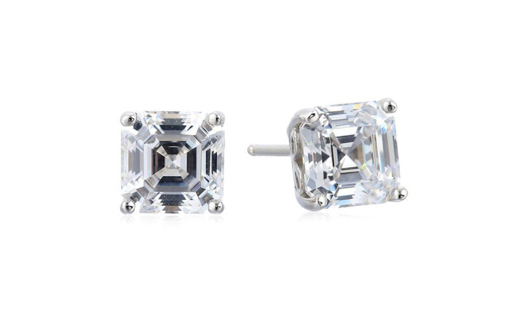 Platinum-Plated Sterling Silver 6 Ct Princess White Cz Stud Earrings