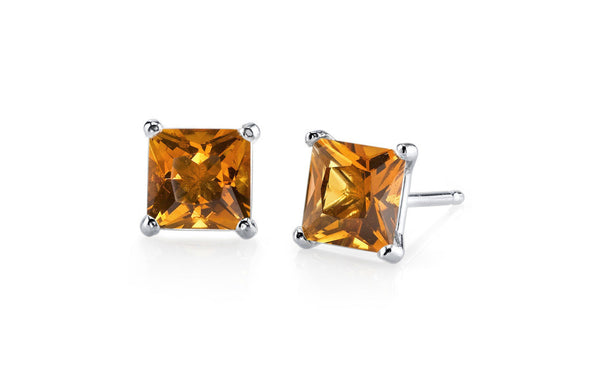 18k White Gold Over Sterling Silver 4 Ct Princess Topaz Cz Earrings