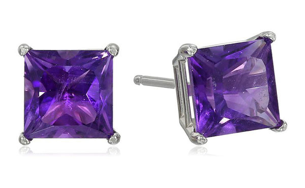 Sterling Silver 1 Carat Princess Amethyst Cubic Zirconia Stud Earrings