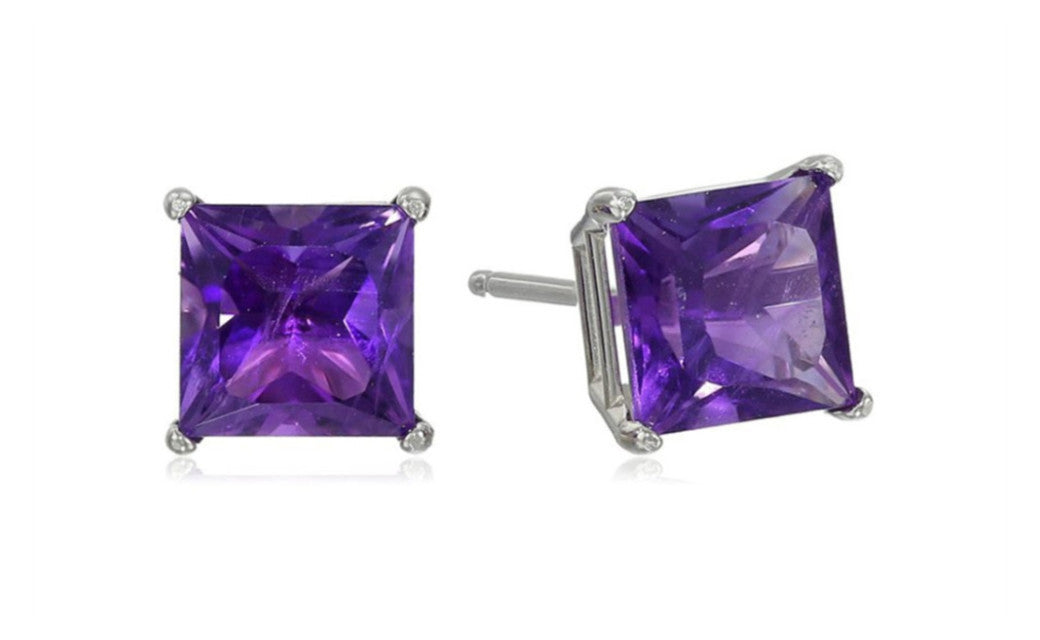 18k White Gold Over Sterling Silver 4Ct Princess Amethyst Cz Earrings