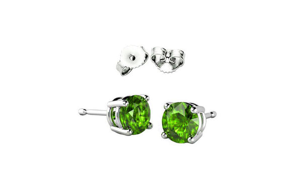 2ct Sterling Silver Peridot Green Colored Round Cz Stud Earrings