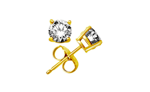 14K Yellow Gold Over Silver Round White Cubic Zirconia Stud Earrings