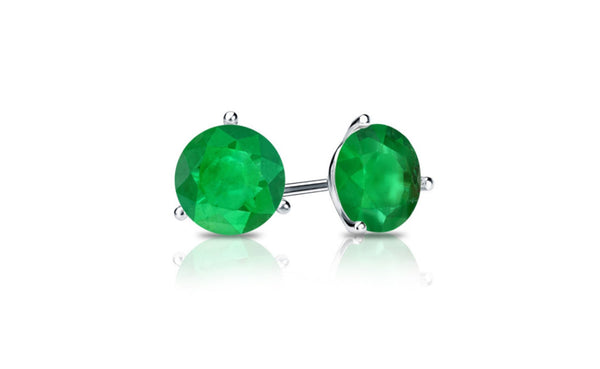 14k White Gold Over Sterling Silver 4Ct Round Emerald Cz Stud Earrings