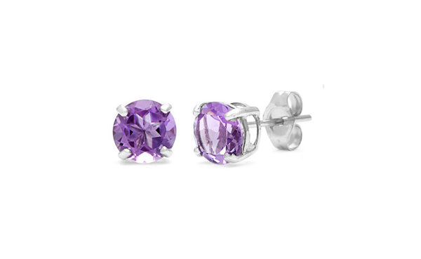 Sterling Silver 1 Carat Alexandrite Cubic Zirconia Round Stud Earrings