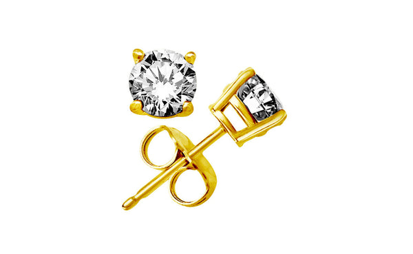 14k Yellow Gold Over Silver 1 Ct Round White Cubic Zirconia Earrings