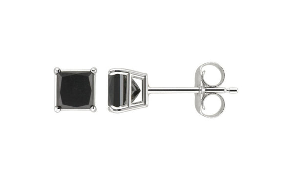 10k White Gold Over Sterling Silver 1 Ct Princess Black Cz Earrings