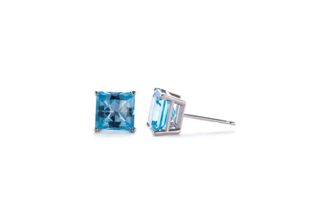Platinum Over Silver Princess Blue 1 Ct Swarovski Elements Earrings