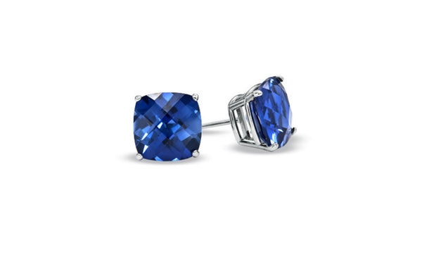 10k White Gold Over Sterling Silver 1Ct Princess Blue Sapphire Cz Stud