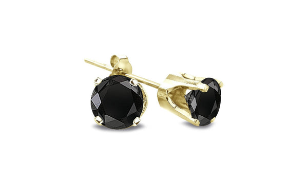 14K Yellow Gold Over Silver 1 Ct Round Black Cz VS1 Stud Earrings