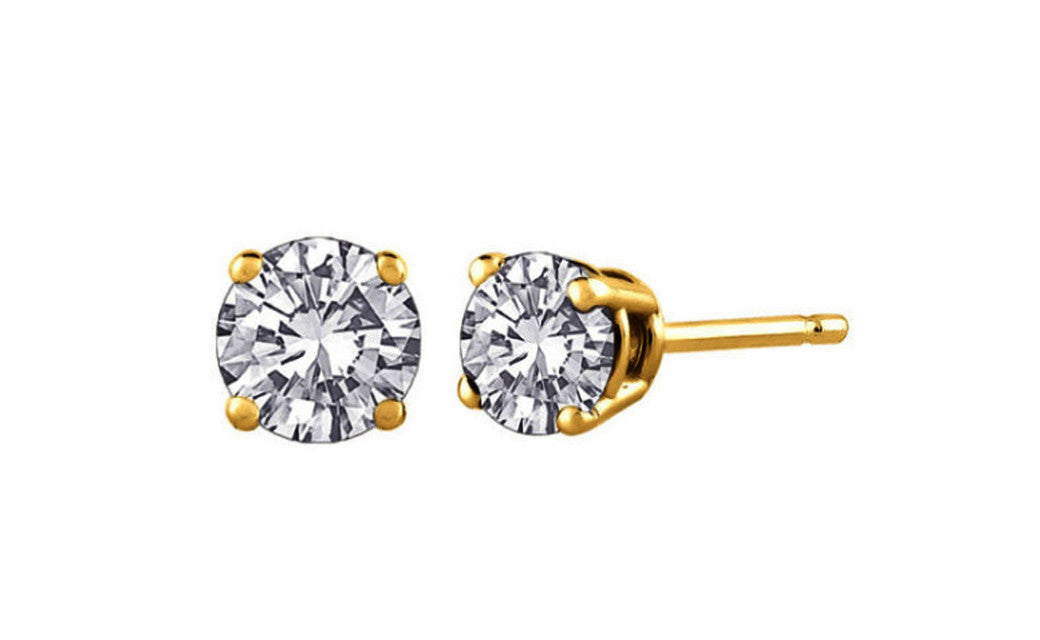 14k Yellow Gold Over Sterling Silver Round White Cz Earrings