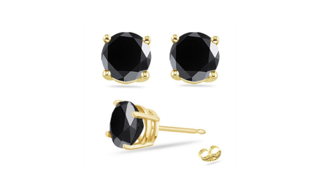 14K Yellow Gold Over Sterling Silver Round Black Cz VS1 Stud Earrings
