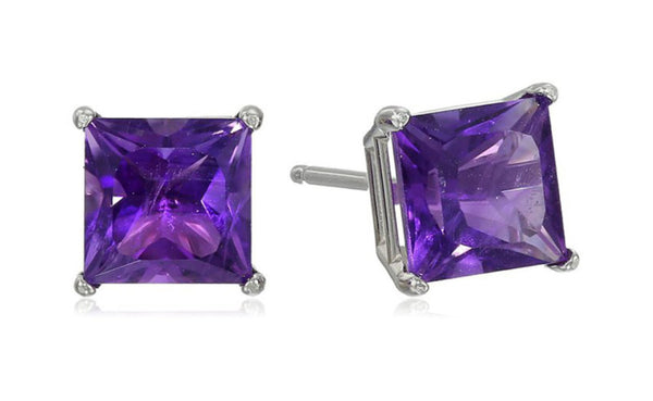 Heavy 10k White Gold Over Sterling Silver Princess Amethyst Cz Earring