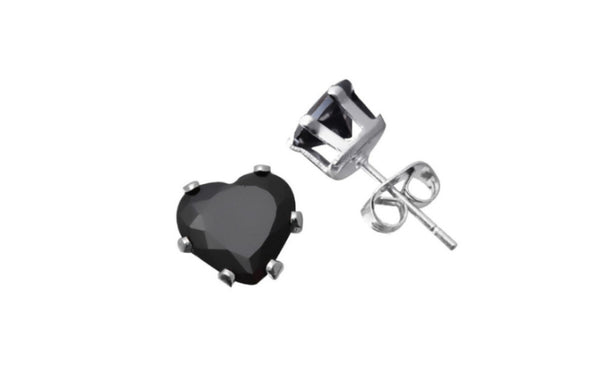 10k White Gold Over Silver 4 Ct Heart Shape Black Cz Stud Earrings