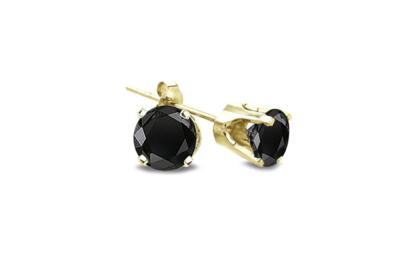 14K Yellow Gold Over Silver Round Black Imitation Diamond Earrings