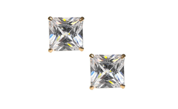 14K Yellow Gold Over Silver White Princess Cubic Zirconia Earrings