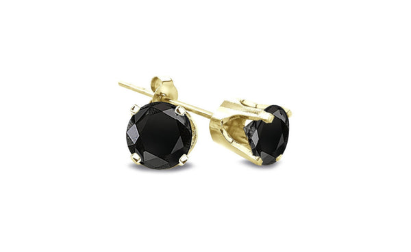 14K Yellow Gold Over Silver Round Black Cubic zirconia VS1 Earrings