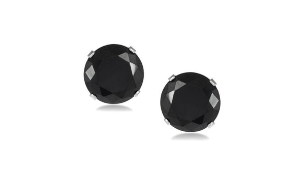 Kids/Grils Platinum Over Sterling Silver Round Black Cz Stud Earrings