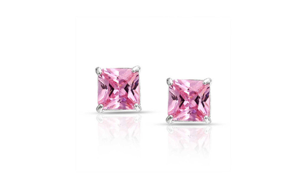 Platinum Over Silver 2Ct Princess Pink Cubic Zirconia VS1 Stud Earring