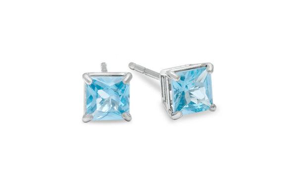 Platinum Over Sterling Silver Cz Princess Aquamarine Earring