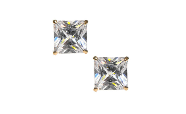 14K Yellow Gold Over Silver White Princess Imitation Diamond Stud