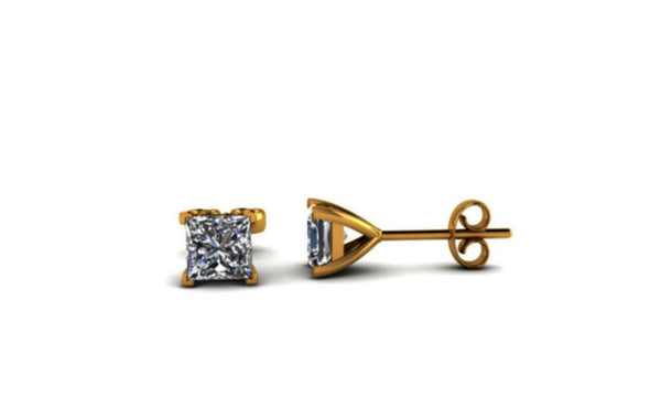18K Yellow Gold Over Sterling Silver Kids Princess White Sapphire Stud
