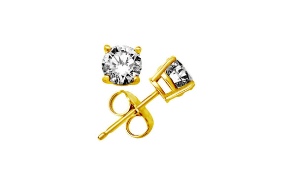 Kids/Girls 18K Yellow Gold Over Silver Round White Sapphire VS1 Stud
