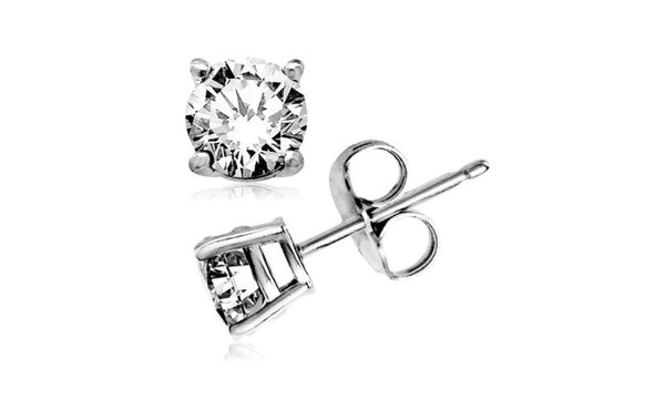 Kids/Girls 18K White Gold Over Silver 1Ct Round White Cz Stud Earrings