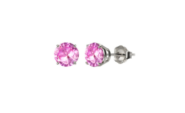 Platinum Over Sterling Silver 1ct Round Pink Swarovski Elements Stud
