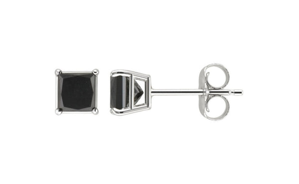 Platinum Over Sterling Silver Black Princess Swarovski Elements Stud