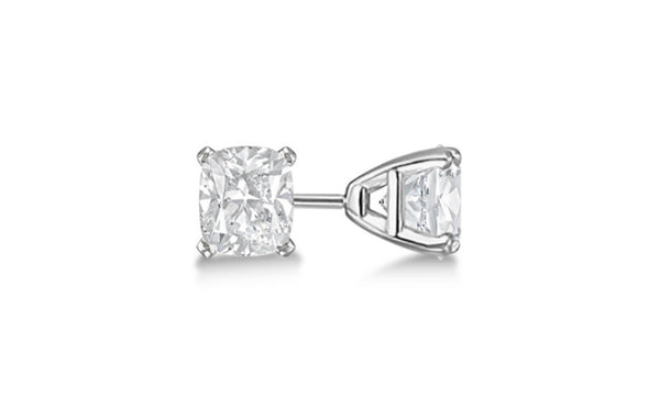 Heavy 10k White Gold Over Sterling Silver Princess White Cz Earring