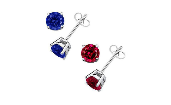 925 Sterling Silver 2Ct Created Round Ruby Red and Blue Sapphire Stud