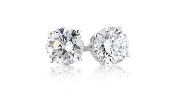 Sterling Silver 4 Carat Round White Cubic Zirconia Stud Earrings