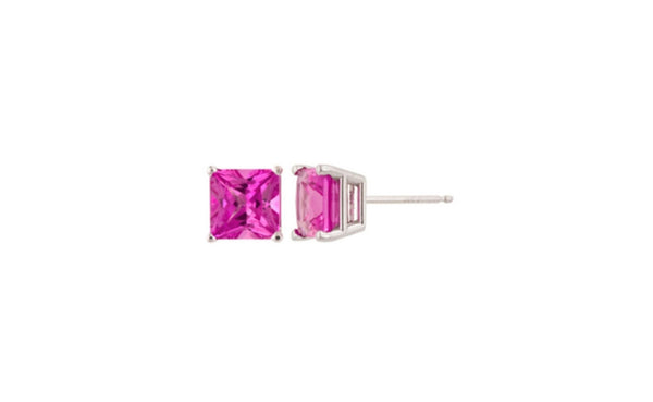 14k White Gold Over Sterling Silver 4Ct Princess Tourmaline Cz Stud