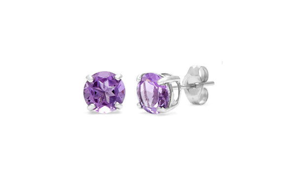 Sterling Silver 4 Carat Round Alexandrite Cubic Zirconia Stud Earrings