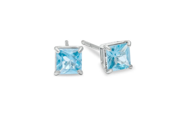 Platinum Over Sterling Silver 4Ct Princess Aquamarine Cz Stud Earrings