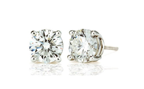 .925 Sterling Silver Round Shape Colorless Cubic Zirconia 1.5 Cttw