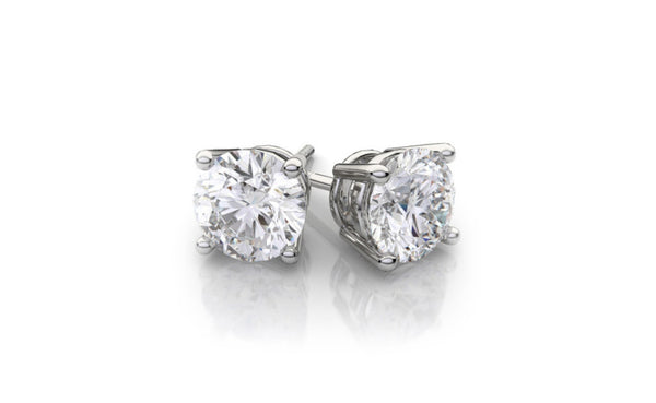 14K Solid White Gold 1 Ct Round White Cubic Zirconia VS1 Stud Earrings
