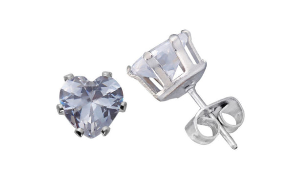 14K Solid White Gold Heart Shape Imitation Diamond Stud Earrings