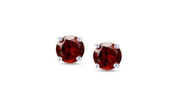 14K White Gold Genuine Round Red Diamond 1/4 CT Sl1 Stud Earrings