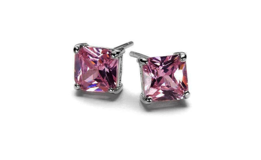 14k White Gold Princess Pink Cubic Zirconia Stud Earrings VS1