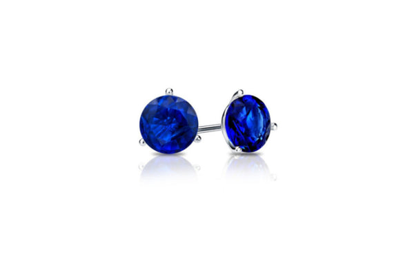 18k White Gold Round Blue Sapphire Cubic Zirconia Stud Earrings