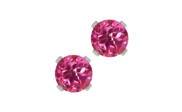 14K White Gold 0.48 Ct Round Pink Tourmaline Cz Stud Earrings 4mm