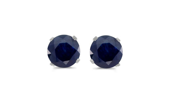 14k White Gold 1.06 Carat Round Blue Sapphire Stud Earrings
