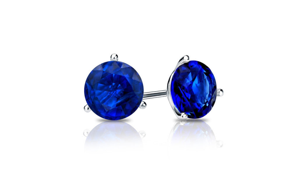 14k White Gold 1Ct Blue Sapphire Cubic Zirconia Round Stud Earrings